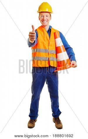 Construction worker with a safety vest and a helmet holding thumbs up
