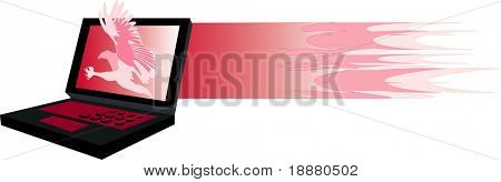 vector image of laptop and fire-hawk graphics isolated on white.