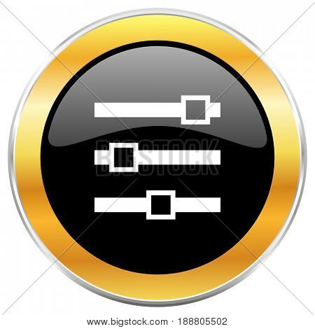 Slider black web icon with golden border isolated on white background. Round glossy button.