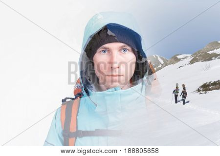 Young snowboarders in snowy winter mountains. Double exposure effect photography