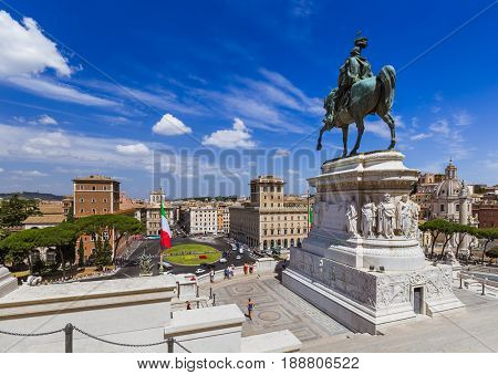 Monument of Vittorio Emanuele II in Rome Italy - architecture background