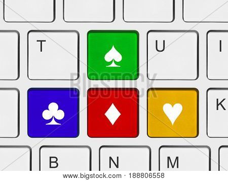 Arrows buttons on computer keyboard - technology background