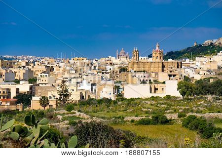 Panorama of Mgarr city on Gozo island. Malta