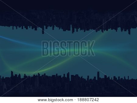 Digital composite of up side down city. green and blue lights in the sky