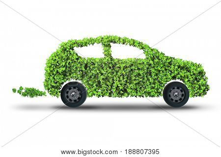 Electric green car isolated on the white background