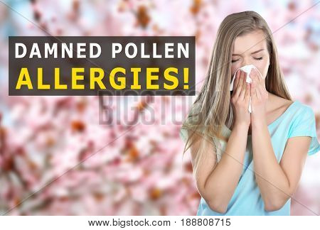 Pollen allergy. Young woman with tissue outdoor