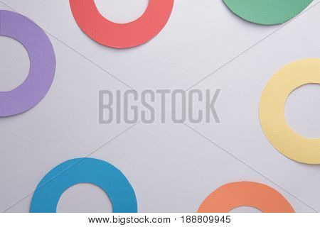 Photo of business graphics diagrama isolated over grey table background.