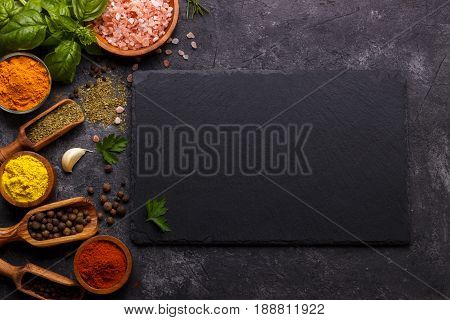 Herbs And Spices Over Black