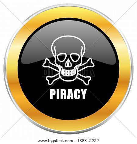 Piracy skull black web icon with golden border isolated on white background. Round glossy button.