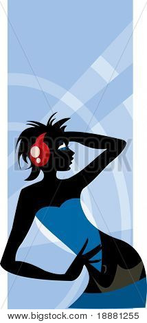 vector image of posing clubbing girl