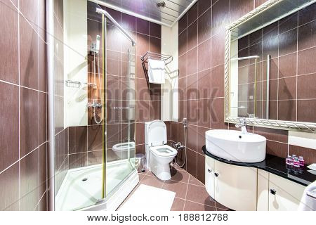Modern bathroom interior in hotel