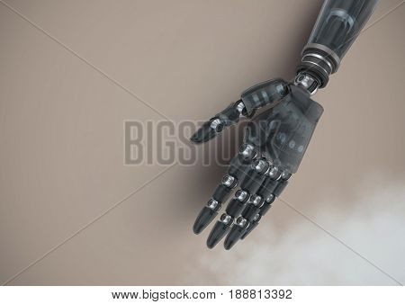 Digital composite of Android Robot hand with brown background