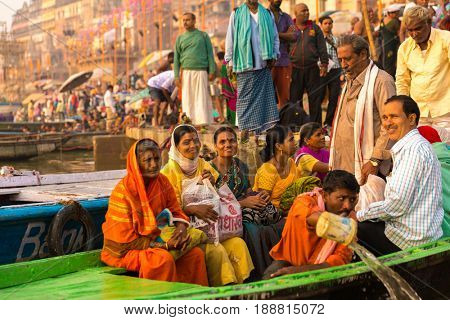 VARANASI, INDIA - CIRCA NOV 2016: People at Ganges river in Varanasi, India