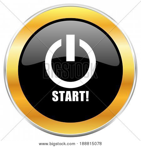 Start black web icon with golden border isolated on white background. Round glossy button.