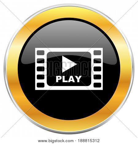 Play video black web icon with golden border isolated on white background. Round glossy button.