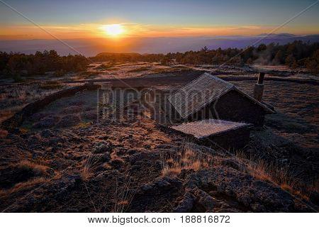 sunset on Galvarina Refuge in Etna Park, Sicily