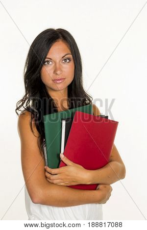 college student with folders