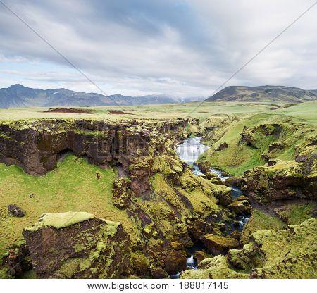 Skoga river over the Skogafoss waterfall, Iceland, Europe