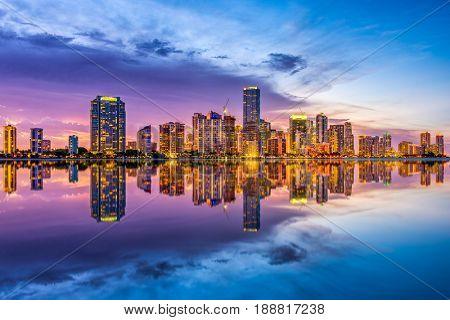 Miami, Florida, USA skyline on Biscayne Bay.