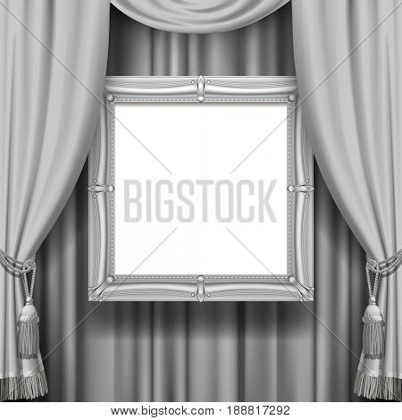 Gray ornamental curtain background with a suspended silver classic frame. Square presentation artistic poster and placard