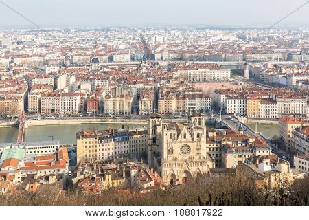 Aerial view of Lyon France