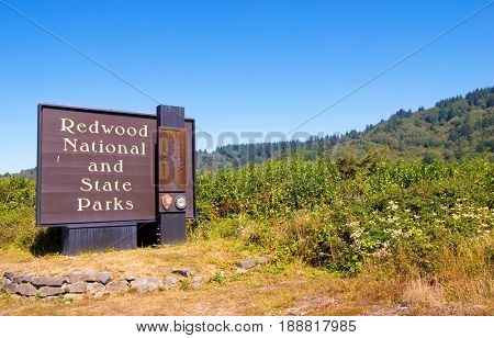 NORTHERN CALIFORNIA, USA - September 2, 2009: Redwood National and State Parks sign near Highway 101 set amongst native vegetation