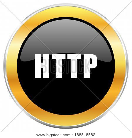Http black web icon with golden border isolated on white background. Round glossy button.