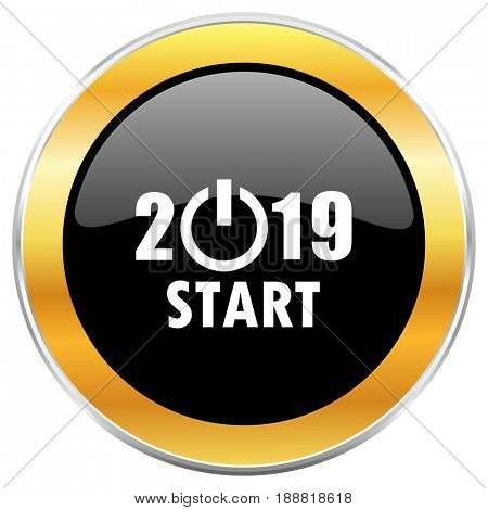 New year 2019 black web icon with golden border isolated on white background. Round glossy button.