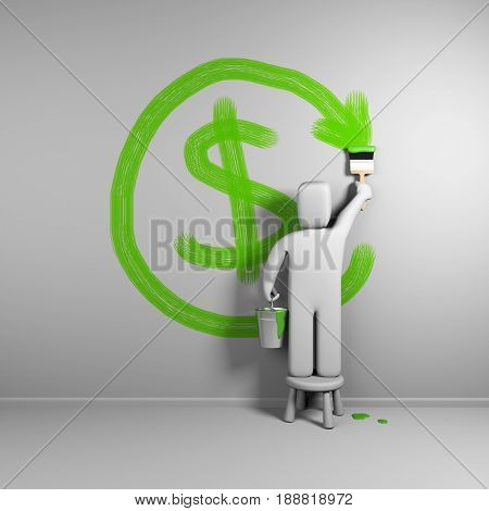 3d person draws refund symbol. 3d illustration