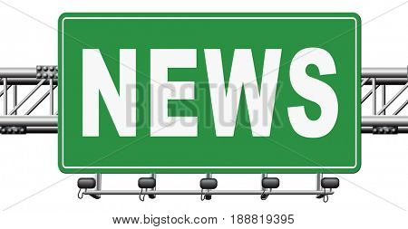 hot and latest news bulletin breaking new information, 3D, illustration