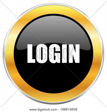 Login black web icon with golden border isolated on white background. Round glossy button.