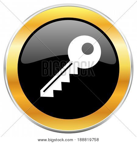 Key black web icon with golden border isolated on white background. Round glossy button.