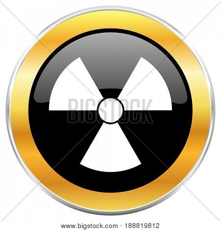 Radiation black web icon with golden border isolated on white background. Round glossy button.