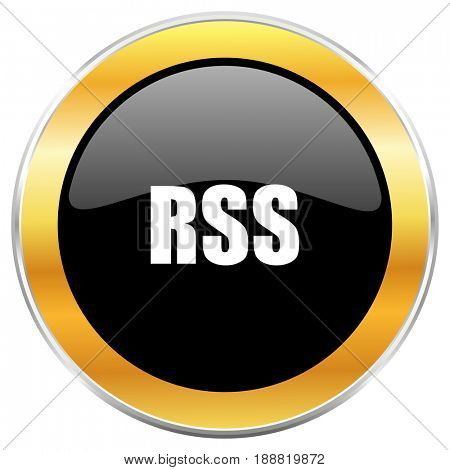 Rss black web icon with golden border isolated on white background. Round glossy button.