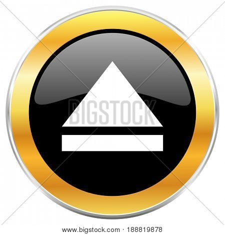 Eject black web icon with golden border isolated on white background. Round glossy button.