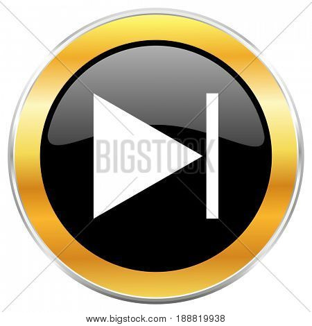 Next black web icon with golden border isolated on white background. Round glossy button.