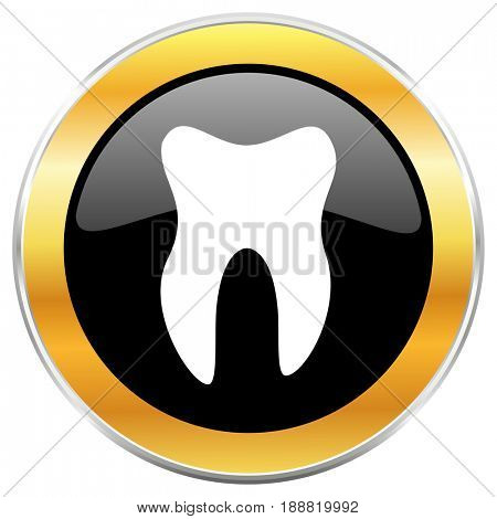 Tooth black web icon with golden border isolated on white background. Round glossy button.