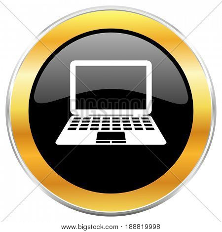 Computer black web icon with golden border isolated on white background. Round glossy button.