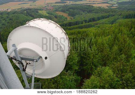 Signal transmitter tower detail high up