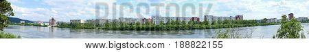 Panorama of Zelenogorsk and the Kan river, Krasnoyarsk region