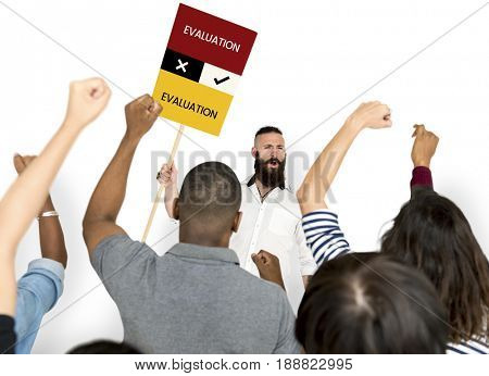 Man holding network graphic overlay banner people chanting