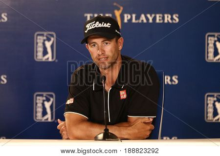 PONTE VEDRA BEACH, FL-MAY 9: Golfer Adam Scott speaks to the media before The PLAYERS Championship on May 9, 2017 in Ponte Vedra Beach, Florida.