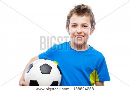 Handsome smiling child boy hand holding soccer ball white isolated