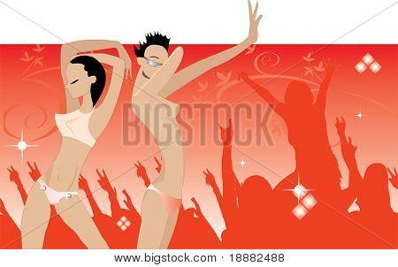 vector image of dancing people in night club