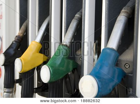 fuelling nozzles on gasoline filling station