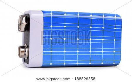 Battery from the solar panel  isolated on white background. The concept of sustainable resources.