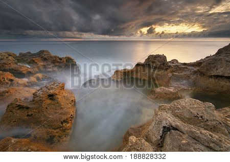 Beautiful seascape. Storm on the sea. Nature composition.