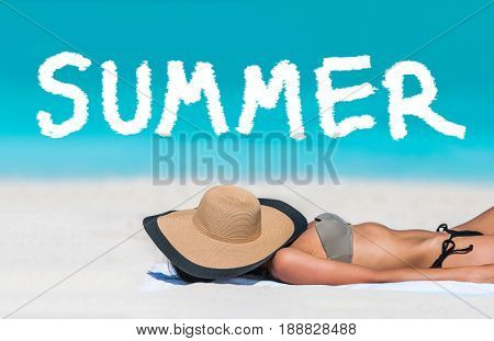 SUMMER title written on beach vacation background. Holidays travel bikini suntan woman asleep sun tanning covering face with hat. SUMMER text for holiday concept in blue ocean copyspace above.