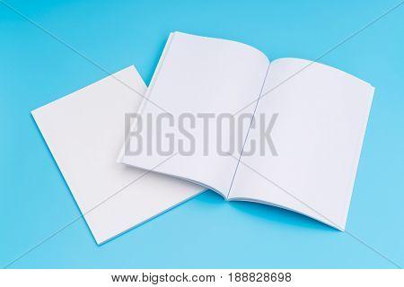 Blank catalog, magazines,book mock up on blue background