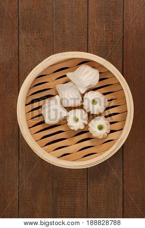 Close-up of dumplings in bamboo steamer